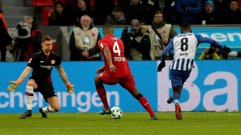 Salomon Kalou scores for Hertha Berlin in their win at Bayer Leverkusen