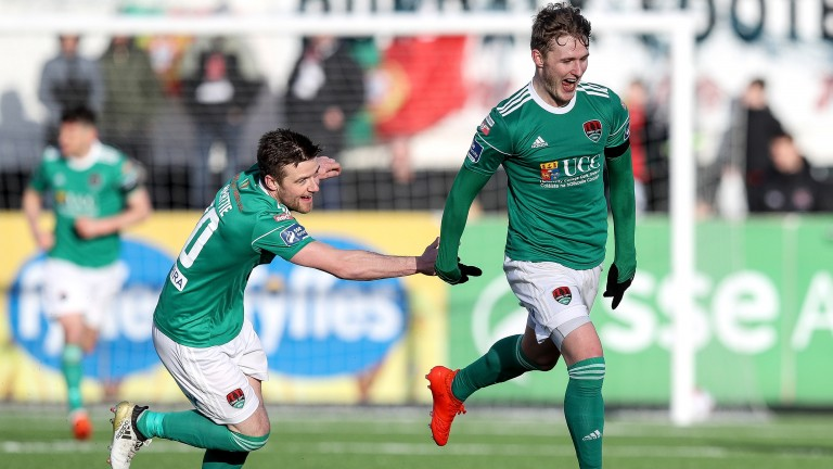 Cork's Kieran Sadlier celebrates scoring their third goal in the Presidents Cup win over Shamrock Rovers