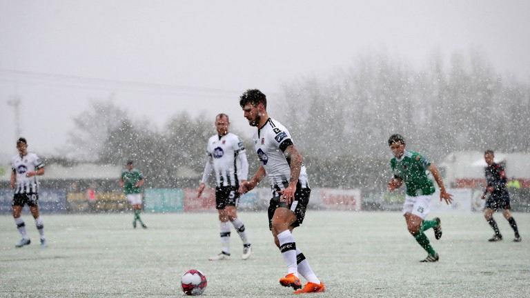 Dundalk's Stephen Folan in possession during the Presidents Cup clash with Cork