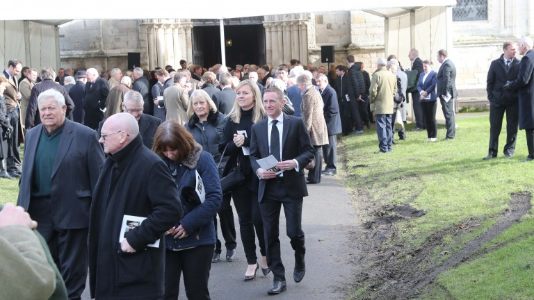 Paul Hanagan among the mourners at the funeral of Malcolm Jefferson at St Mary's Church in Old Malton