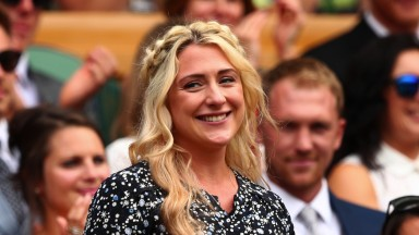 LONDON, ENGLAND - JULY 08:  Laura Kenny is introduced to the crowd from the centre court royal box on day six of the Wimbledon Lawn Tennis Championships at the All England Lawn Tennis and Croquet Club on July 8, 2017 in London, England.  (Photo by Clive B
