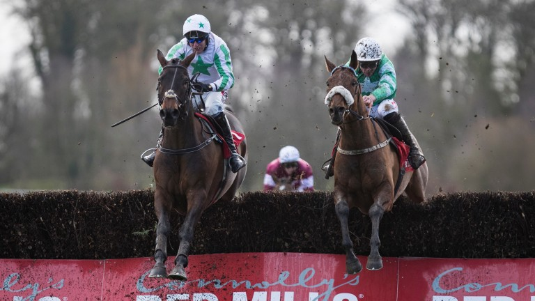 Our Duke (left) gets the better of Presenting Percy in the Red Mills Chase at Gowran Park