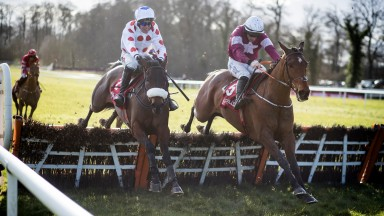 Forge Meadow(left) battles back to land the Red Mills Trial Hurdle