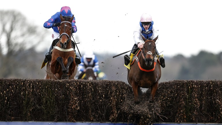 Truly a race to savour: Waiting Patiently (right) goes through the top at the last, but another lion-hearted leap from Cue Card isn't enough to peg back Ruth Jefferson's star in what was a memorable running of the Ascot Chase