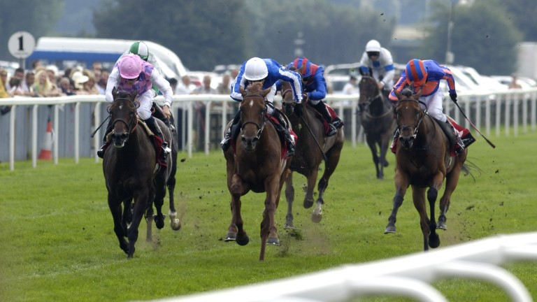 Flashy Wings and Ted Durcan (centre) land the Lowther Stakes at York