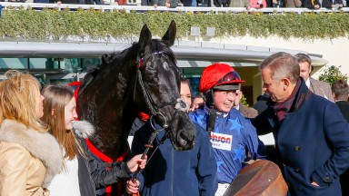 Black Corton - Bryony Frost with winning connectionsThe Sodexo Reynoldstown Novices' Chase (Grade 2) (Class 1)Ascot 16/02/2018©cranhamphoto.com