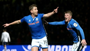 Steve Davies celebrates scoring Rochdale's second goal