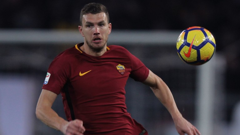 Edin Dzeko is a threat up front for Roma