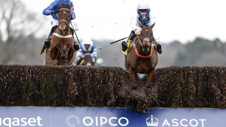 ASCOT, ENGLAND - FEBRUARY 17:  Brian Hughes riding Waiting Patiently (R) clear the last to win The Betfair Ascot Steeple Chase from Cue Card (L) at Ascot Racecourse on February 17, 2018 in Ascot, England. (Photo by Alan Crowhurst/Getty Images)