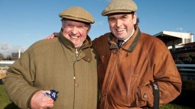 David Minton (left) and trainer Alan King at Warwick
