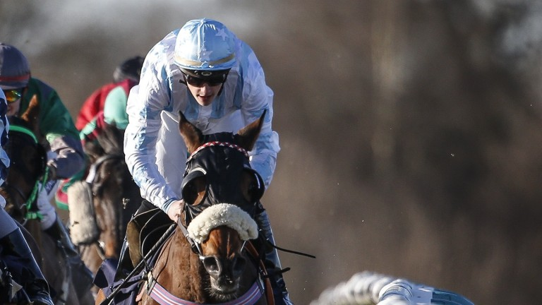 Keelan Baker in winning action on Berie Moon at Lingfield in December