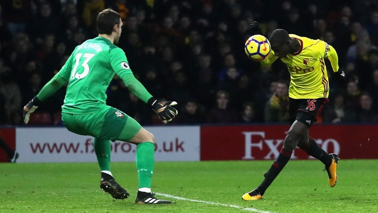 Abdoulaye Doucoure scores Watford's equaliser against Southampton in January