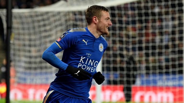 Leicester's Jamie Vardy celebrates his goal against Sheffield United