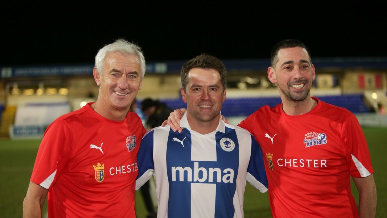 All-Stars: former Liverpool player Ian Rush (left) with match organiser Colin Murray (right) and Michael Owen