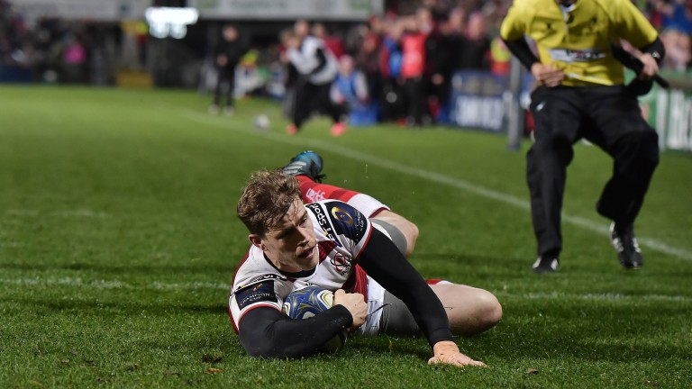 Former Ireland wing Andrew Trimble scores a try for Ulster in the Champions Cup