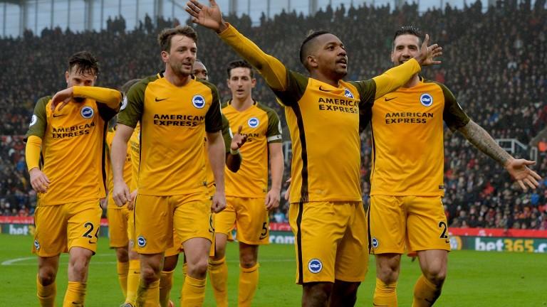 Brighton's Jose Izquierdo celebrates scoring a goal