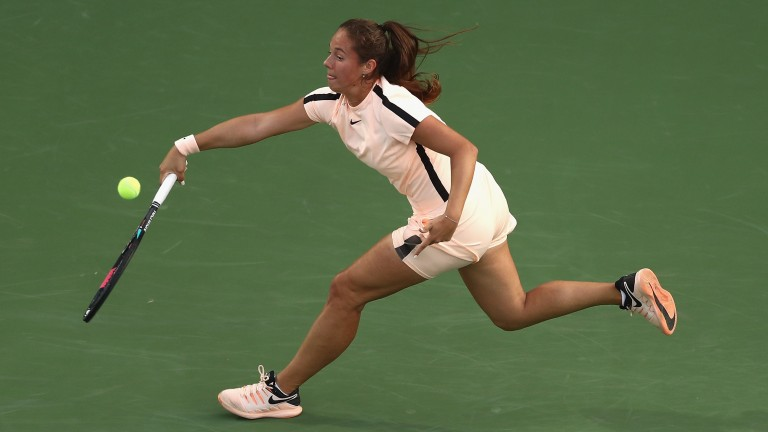 Daria Kasatkina reaches wide in her semi-final win over Garbine Muguruza