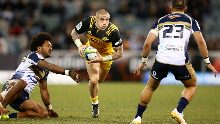 Scrum-half TJ Perenara is a tryscoring threat for the Hurricanes