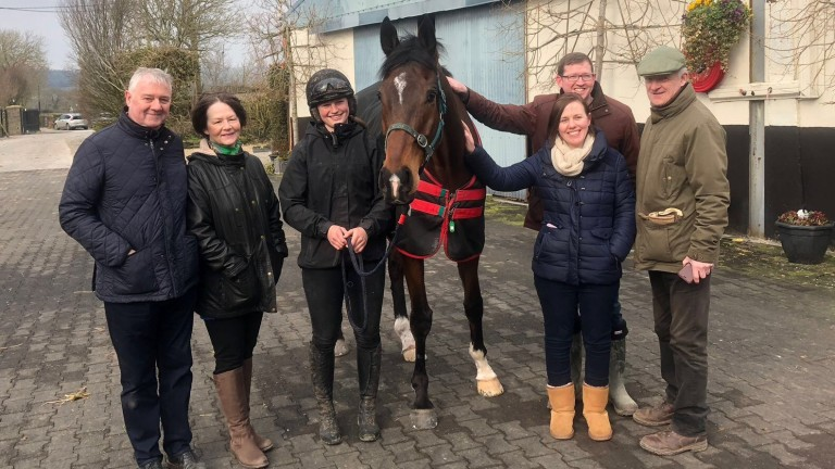 Competition winners Brian and Marian Hopkins and Linda McGirl and Robert Kelly meet Douvan, who is attended by Aimee Morrissey and Willie Mullins