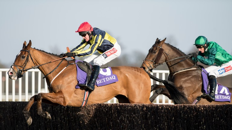 Master Dee (Barry Geraghty) lead over the last from Ballykan (Daryl Jacob) on the way to winning the Betdaq Chase at Kempton on Saturday