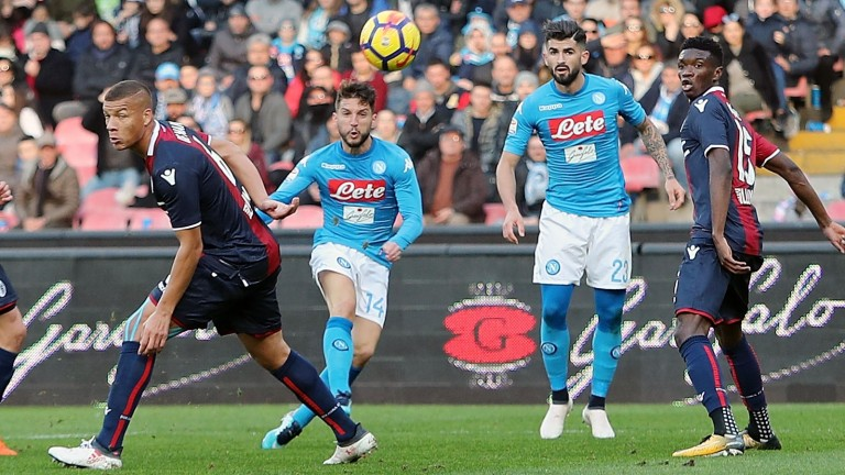 Dries Mertens (second left) has helped guide Napoli to the top of Serie A