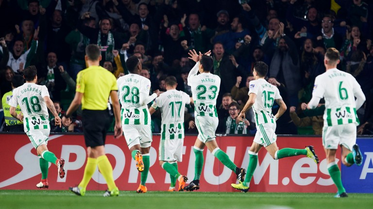 Real Betis celebrate scoring against Real Madrid