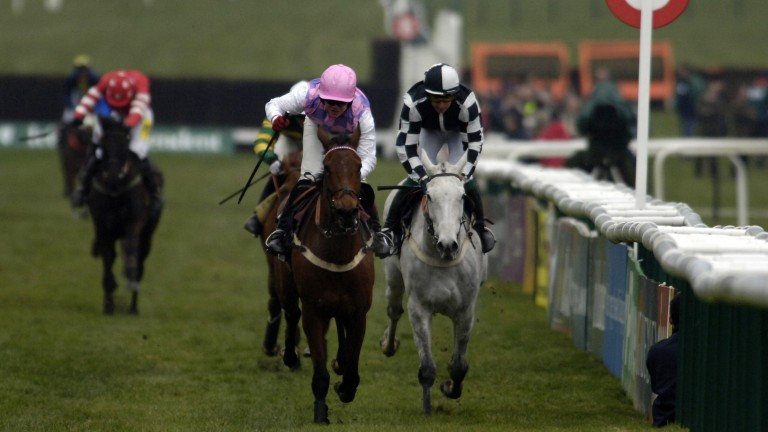 Monet's Garden (left) and Voy Por Ustedes cross the line in the 2006 Arkle