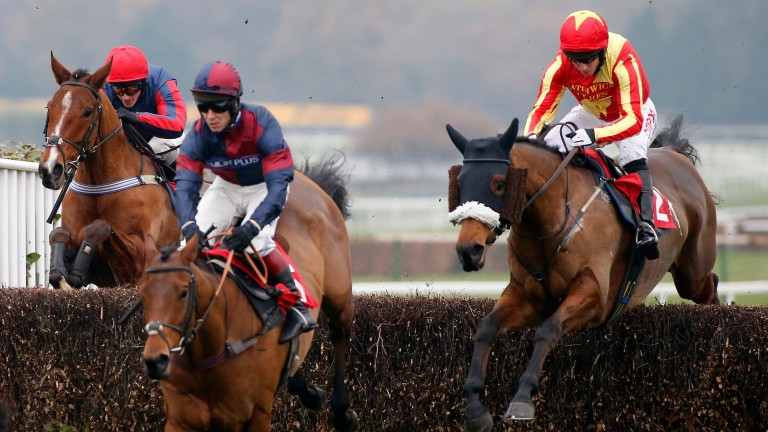 Pilgrims Bay and Noel Fehily (right) on their way to victory in the novice chase at Sandown in December 2016