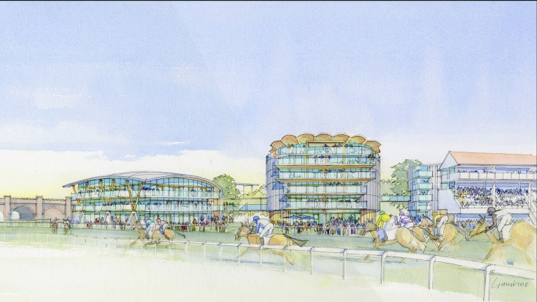 The artist's impression shows the new events building to the left of the modernised Pavilion Grandstand