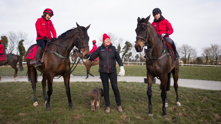 Jessica Harrington with her two stars Our Duke (Tracy Piggott) and Sizing John (Kate Harrington) at Tuesday's media function