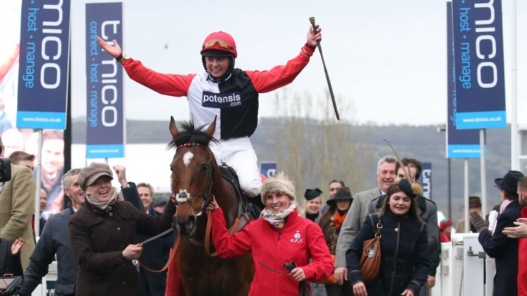Bryony Frost enjoyed a significant boost to her career when landing the 2017 St James's Place Foxhunter Chase on Pacha Du Polder