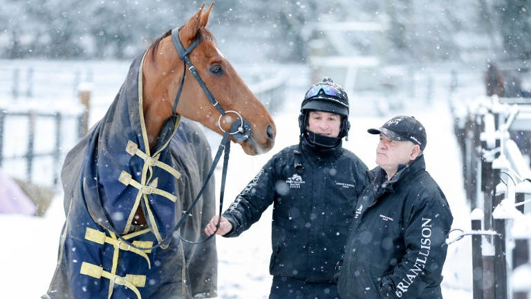Brian Ellison and stable star Definitly Red weren't fazed by the snow on Tuesday