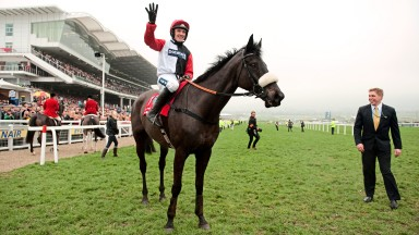 On top of the world: a delighted Ruby Walsh acknowledges the amazing festival four-timer of Big Buck's
