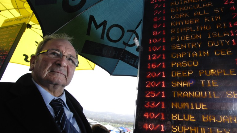 Lord of the jungle: Freddie Williams in the betting ring at Cheltenham – his spiritual home