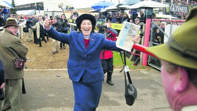 Henrietta Knight runs into the arms of Terry Biddlecombe after Best Mate and Jim Culloty won the 2004 Gold Cup – the pair's third victory in the festival showpiece