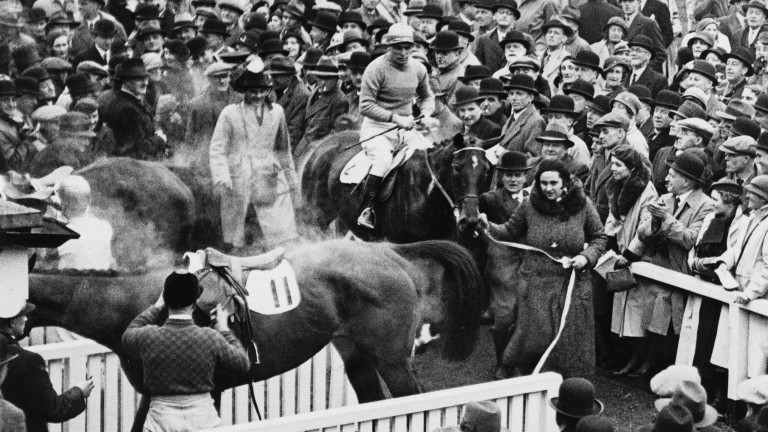 Dorothy Paget leads in Golden Miller and Gerry Wilson after their victory in the 1934 Gold Cup. Golden Miller remains the most successful horse in the race's history, winning five consecutive races between 1932 and 1936