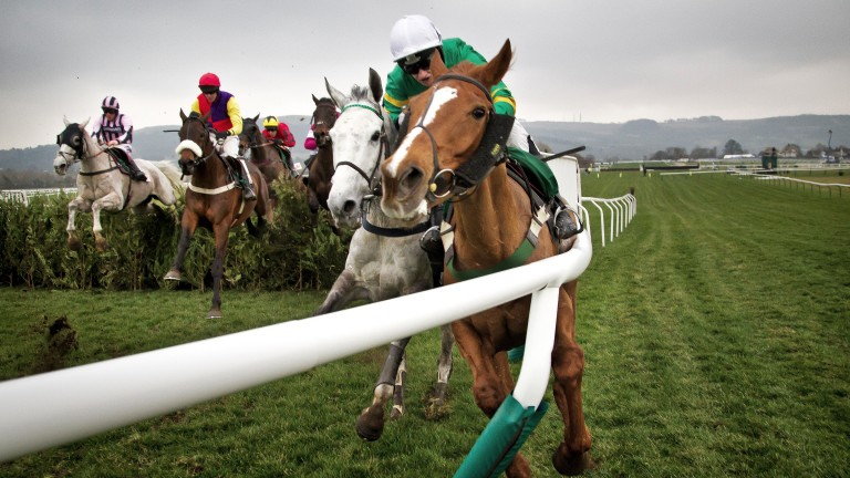Toutancarmont carries out Quantitiativeeasing in the 2015 cross-country chase, an incident that resulted in a broken leg for Racing Post photographer Patrick McCann – and an HWPA photo of the year award