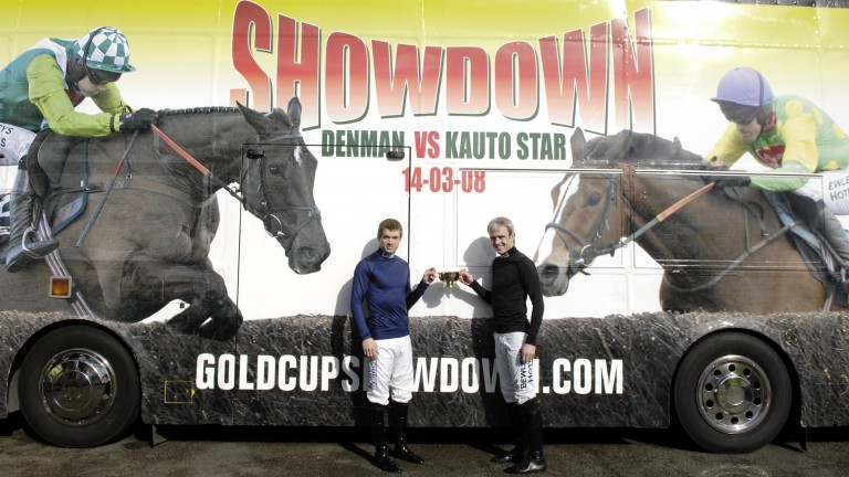 Ruby Walsh(r) and Sam Thomas the riders of Kauto Star and Denman in the Gold Cup