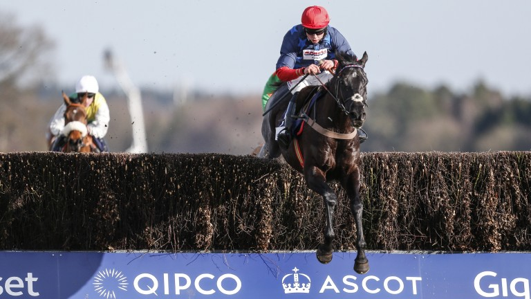 Bryony Frost flies over a fence on her beloved Black Corton, the RSA Chase contender who won last time at Ascot