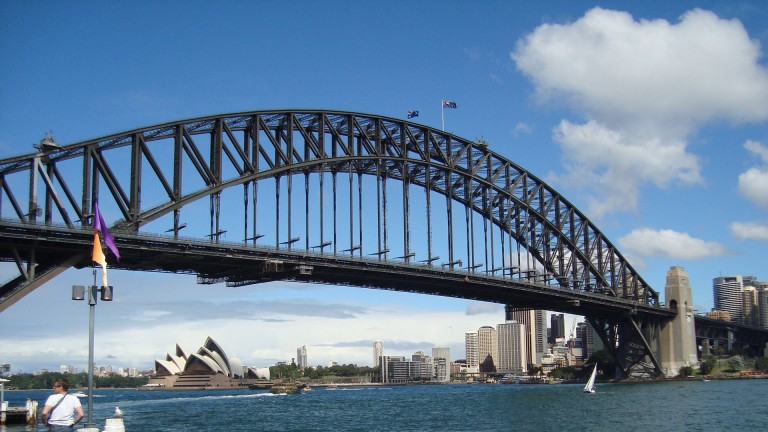 A view of Sydney harbour with the iconic Opera House in the background