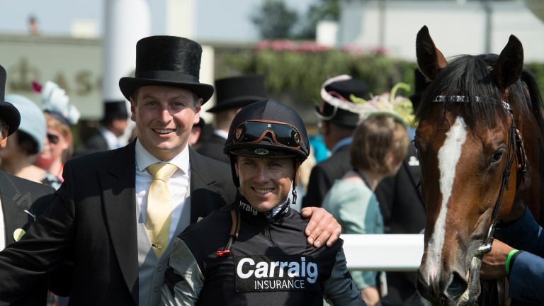 Trainer Richard Spencer and jockey Stevie Donohoe after Rajasinghe's win at Royal Ascot