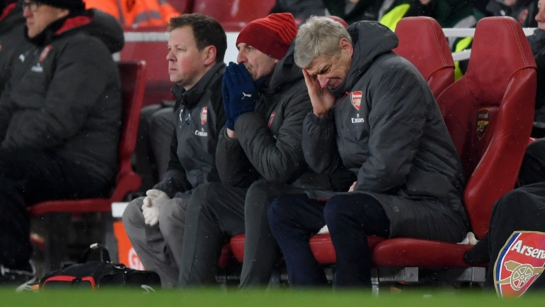 Arsene Wenger can barely watch as Arsenal freeze against Man City