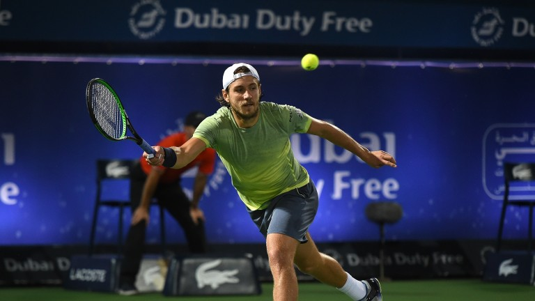 Lucas Pouille on the way to victory over Filip Krajinovic in the last four