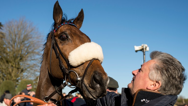 Paul Nicholls admires Old Guard after the horse's National Spirit Hurdle win