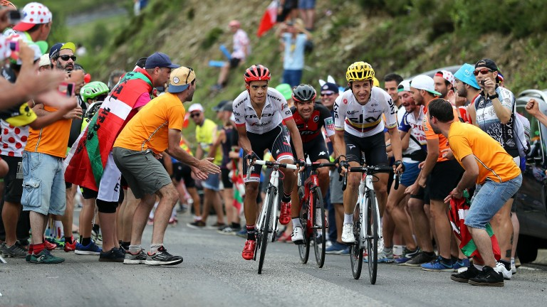 Sergio Henao (yellow helmet) in action during the Tour de France