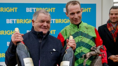 Brian Ellison and Danny Cook enjoy the spoils of victory after the Cotswold Chase