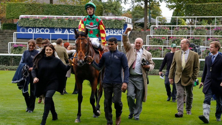 Celebrations as Danehill Kodiac returns in triumph from the Cumberland Lodge Stakes at Ascot last October