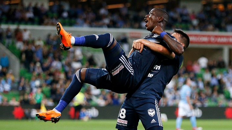 Leroy George and Matias Sanchez of Melbourne Victory celebrate