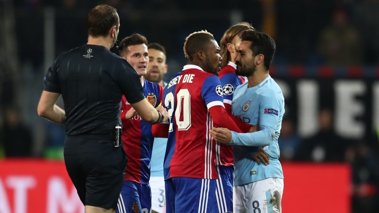 Tempers flare between Basel and Man City during the first leg