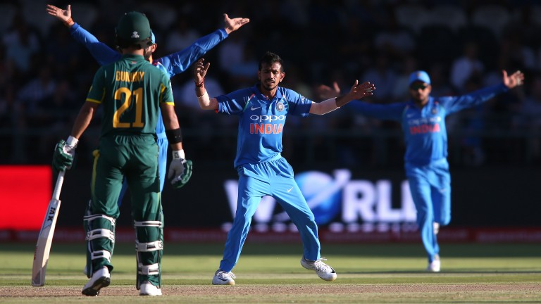 India spinner Yuzvendra Chahal appeals for a wicket in the ODI series in South Africa